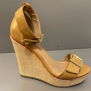 Just Fab 6' wedge heels.Tan,  w/ ankle strap. 5.5